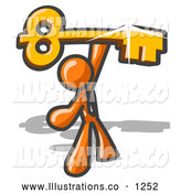 Royalty Free Stock Illustration of a Friendly Excited Orange Businessman Holding up a Large Golden Skeleton Key by Leo Blanchette