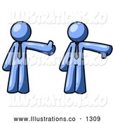 Royalty Free Stock Illustration of a Friendly Expressive Blue Business Man Giving the Thumbs up Then the Thumbs down by Leo Blanchette