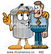 Royalty Free Stock Illustration of a Friendly Garbage Can Mascot Cartoon Character Talking to a Business Man by Toons4Biz