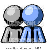 Royalty Free Stock Illustration of a Friendly Gray Person Standing Beside a Blue Businessman, Symbolizing Teamwork or Mentoring by Leo Blanchette