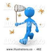 Royalty Free Stock Illustration of a Friendly Greedy Blue Man Chasing Euros That Resemble Butterflies with a Net by 3poD