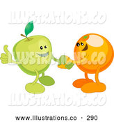 Royalty Free Stock Illustration of a Friendly Green Apple Shaking Hands with an Orange While Agreeing on a Business Deal by AtStockIllustration