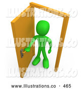 Royalty Free Stock Illustration of a Friendly Green Figure Standing in an Open Doorway, Uncertain of Whether or Not to Enter, Symbolizing Opportunity by 3poD