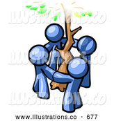 Royalty Free Stock Illustration of a Friendly Group of 4 Blue Man Standing in a Circle Around a Tree by Leo Blanchette