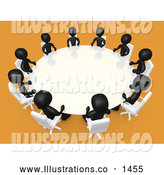 Royalty Free Stock Illustration of a Friendly Group of Black People Seated and Holding a Meeting at a Round White Conference Table in a Room with Yellow or Orange Carpet by 3poD