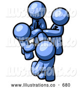 Royalty Free Stock Illustration of a Friendly Group of Blue Businessmen Going in Together on a Deal by Leo Blanchette