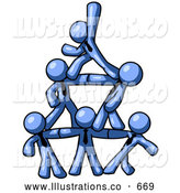 Royalty Free Stock Illustration of a Friendly Group of Blue Businessmen Piling up to Form a Pyramid by Leo Blanchette