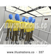 Royalty Free Stock Illustration of a Friendly Group of Blue People in the Same Uniforms, Standing in an Elevator, Symbolizing Teamwork or Clones by 3poD
