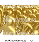 Royalty Free Stock Illustration of a Friendly Group of Gold Men Standing in Rows During a Meeting by 3poD