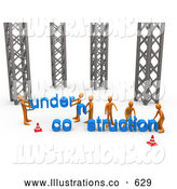 Royalty Free Stock Illustration of a Friendly Group of Orange Men Working Together to Build a New Website That by 3poD