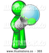 Royalty Free Stock Illustration of a Friendly Lime Green Man Holding a Glass Electric Lightbulb, Symbolizing Utilities or Ideas by Leo Blanchette