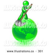 Royalty Free Stock Illustration of a Friendly Lime Green Man Using a Wet Mop with Green Cleaning Products to Clean up the Environment of Planet Earth by Leo Blanchette
