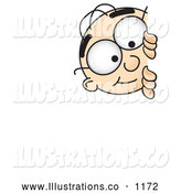 Royalty Free Stock Illustration of a Friendly Male Caucasian Office Nerd Business Man Mascot Character Curiously Peeking Around a Corner by Toons4Biz