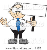 Royalty Free Stock Illustration of a Friendly Male Caucasian Office Nerd Business Man Mascot Character Holding a Blank Sign by Toons4Biz