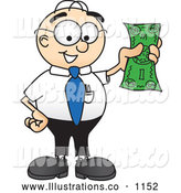 Royalty Free Stock Illustration of a Friendly Male Caucasian Office Nerd Business Man Mascot Character Holding a Dollar Bill by Toons4Biz