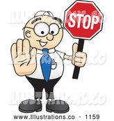 Royalty Free Stock Illustration of a Friendly Male Caucasian Office Nerd Business Man Mascot Character Holding a Stop Sign by Toons4Biz