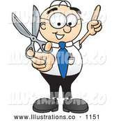 Royalty Free Stock Illustration of a Friendly Male Caucasian Office Nerd Business Man Mascot Character Holding up a Pair of Scissors by Toons4Biz
