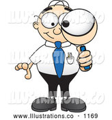 Royalty Free Stock Illustration of a Friendly Male Caucasian Office Nerd Business Man Mascot Character Looking Through a Magnifying Glass by Toons4Biz