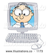 Royalty Free Stock Illustration of a Friendly Male Caucasian Office Nerd Business Man Mascot Character Peeking out from Inside a Desktop Computer Monitor by Toons4Biz