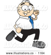 Royalty Free Stock Illustration of a Friendly Male Caucasian Office Nerd Business Man Mascot Character Running by Toons4Biz
