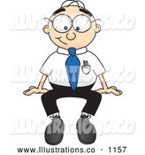Royalty Free Stock Illustration of a Friendly Male Caucasian Office Nerd Business Man Mascot Character Seated While Staring Forward by Toons4Biz