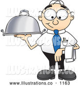 Royalty Free Stock Illustration of a Friendly Male Caucasian Office Nerd Business Man Mascot Character Serving a Dinner Platter by Toons4Biz