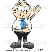 Royalty Free Stock Illustration of a Friendly Male Caucasian Office Nerd Business Man Mascot Character Waving and Pointing to the Right by Toons4Biz
