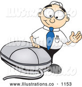 Royalty Free Stock Illustration of a Friendly Male Caucasian Office Nerd Business Man Mascot Character Waving and Standing by a Computer Mouse by Toons4Biz
