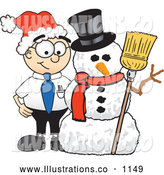 Royalty Free Stock Illustration of a Friendly Male Caucasian Office Nerd Business Man Mascot Character with a Snowman on Christmas by Toons4Biz