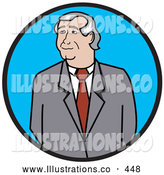 Royalty Free Stock Illustration of a Friendly Middle Aged Businessman in a Gray Jacket, Red Tie and White Shirt, Looking off to the Side by Andy Nortnik