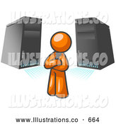 Royalty Free Stock Illustration of a Friendly Orange Business Man Standing in Front of Servers by Leo Blanchette