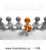 Royalty Free Stock Illustration of a Friendly Orange Business Man Standing out from the Crowd of Gray Business Men by Leo Blanchette