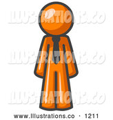 Royalty Free Stock Illustration of a Friendly Orange Business Man Wearing a Tie, Standing with His Arms at His Side by Leo Blanchette
