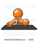Royalty Free Stock Illustration of a Friendly Orange Businessman Seated at a Desk During an Office Meeting by Leo Blanchette