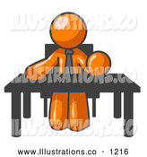Royalty Free Stock Illustration of a Friendly Orange Businessman Seated at a Desk, Instructing Employees by Leo Blanchette