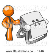 November 13th, 2013: Royalty Free Stock Illustration of a Friendly Orange Businessman Standing Beside a Rotary Card File with Blank Index Cards by Leo Blanchette