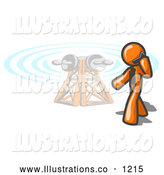 Royalty Free Stock Illustration of a Friendly Orange Businessman Talking on a Cell Phone, a Communications Tower in the Background by Leo Blanchette