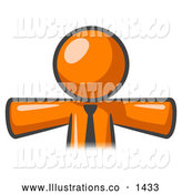 Royalty Free Stock Illustration of a Friendly Orange Businessman Wearing a Tie, Facing Front and Holding His Arms out at His Sides, Perhaps Ready to Hug Someone or Symbolizing Freedom After a Long Day at Work by Leo Blanchette