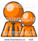 Royalty Free Stock Illustration of a Friendly Orange Child or Employee Standing Beside a Bigger Orange Businessman, Symbolizing Management, Parenting or Mentorship by Leo Blanchette