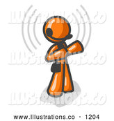Royalty Free Stock Illustration of a Friendly Orange Customer Service Representative Taking a Call with a Headset in a Call Center by Leo Blanchette