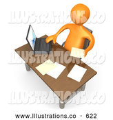 Royalty Free Stock Illustration of a Friendly Orange Employee Seated at a Wooden Desk and Using a Laptop While Doing Paperwork at the Office by 3poD