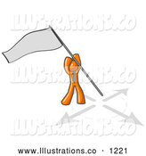 Royalty Free Stock Illustration of a Friendly Orange Man Claiming Territory or Capturing the Flag by Leo Blanchette