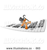 Royalty Free Stock Illustration of a Friendly Orange Man Dancing and Walking on a Piano Keyboard by Leo Blanchette