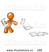 November 12nd, 2013: Royalty Free Stock Illustration of a Friendly Orange Man Dropping White Sheets of Paper on a Ground and Leaving a Paper Trail, Symbolizing Waste by Leo Blanchette
