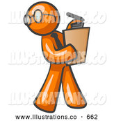 Royalty Free Stock Illustration of a Friendly Orange Man Holding a Clipboard While Reviewing Employess by Leo Blanchette