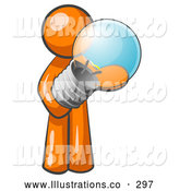 Royalty Free Stock Illustration of a Friendly Orange Man Holding a Glass Electric Lightbulb, Symbolizing Utilities or Ideas by Leo Blanchette