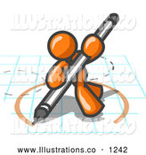 Royalty Free Stock Illustration of a Friendly Orange Man Holding a Pencil and Drawing a Circle on a Blueprint by Leo Blanchette
