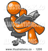 Royalty Free Stock Illustration of a Friendly Orange Man Sitting Cross Legged in a Chair and Reading a Book by Leo Blanchette