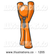 Royalty Free Stock Illustration of a Friendly Orange Man Standing with His Arms Above His Head by Leo Blanchette