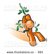 Royalty Free Stock Illustration of a Friendly Orange Man Swinging on a Vine like Tarzan by Leo Blanchette